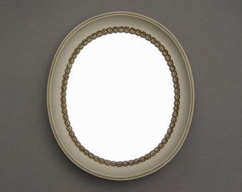 Vintage Syroco Wood Mirror Dainty Gold Flowers Oval Cream Colored Frame Easle Stand 14 Inch Table Top Mirror Cottage Chic Decor