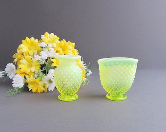 Vintage Yellow Hobnail Vases, Hobnail Vases, Small Yellow Vases, Yellow Hobnails, Set of 2