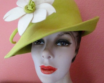 Sassy Frank Olive Cheery Yellow Soft Felt Hat Fedora Derby Church Bridal