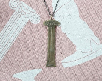 Column necklace in bronze