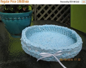 """20% OFF WEEKEND SALE Crocheted Fabric Rag Rug Basket Baby Blue with Thin White Ribbon 12"""" Diameter"""
