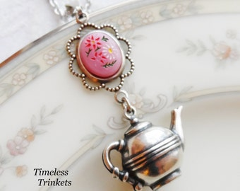 50% Off, Time for Tea, Vintage Cameo and Teapot Necklace, Cameo Made in Japan features Red and White Daisy Flowers on a Pink Background
