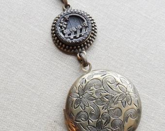 Locket Necklace, Antique Button, Picture Button, Victorian Button, Flower Design, Picket Fence, Clover, Embossed Brass, Timeless Trinkets