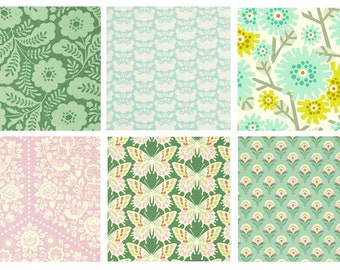 BUNDLE - Clementine - FreeSpirit - Heather Bailey - Green and Pink Floral Quilting Collection - Flowers Stems Green