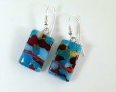 Handmade Sterling Silver Fused Glass Earrings in Gift Box - turquoise and red  - FREE UK SHIPPING