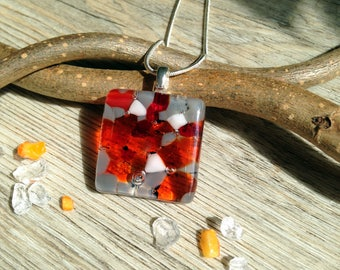 Orange Summer Necklace / Summer Jewellery / Orange and Grey / Fused Glass Necklace / Square Pendant - in Gift box FREE UK SHIPPING