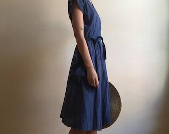 Lavai Maria Handmade Cotton Blue Wrap Dress with Huge Pockets- Sz L