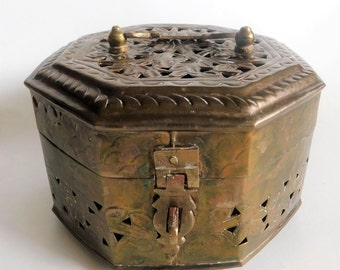 Vintage Brass Cricket Box