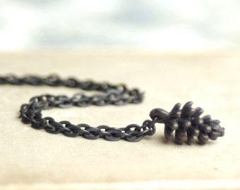 Pine Cone Charm Necklace, Black Brass Pine Cone, Pine Cone Charm, Winter, Holiday, Woodland Jewelry, Tree Jewelry, Rustic