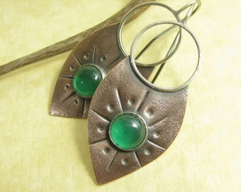 Green Onyx Earrings, Tribal Copper Earrings, Large Earrings, Mixed Metal Earring, Two Tone Lotus Shield Earrings, Green Chalcedony Earrings