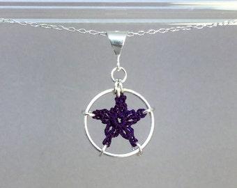 Stars, purple silk necklace, sterling silver