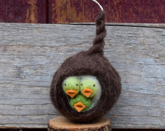 Baby Birds in a Nest - Felted Ornament in Green