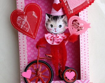 Valentine's Day Decoration Kitten Tricycle in a Shadow Box Valentine Ornament