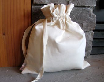 Set of 2 Medium Drawstring Fabric Gift Bags, Washable, Linen, Cotton, Natural, Oatmeal