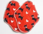 Set of 2 Scotty Dogs Printed Flannel HEAVY Flow Mama Cloth Pads . 8 Inch FREE Shipping