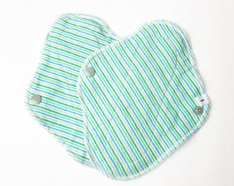 Set of 2 Cloth Mama Pad Pantyliner 8 inch - Green Stripes Flannel