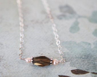 Smokey Brown Quartz, Pink Freshwater Pearl, Sterling Silver Necklace, Minimalist, Gift for Her