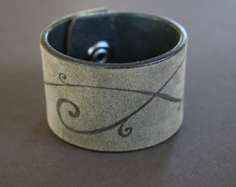 Spiral Cuff Leather Bracelet, Branded, Hand burned Recycled Belt, Unique, Upcycled by Stacy Traynor