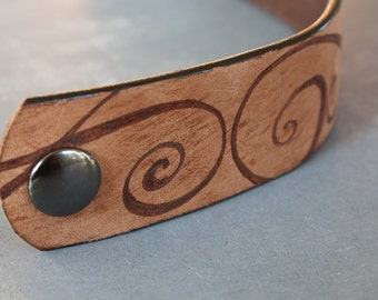 Leather Cuff Bracelet / Recycled Belt / Upcycled / Repurposed / Spiral / Branded / Unique Gift for Her
