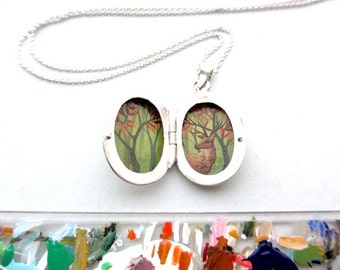 Miniature Woodland Deer, Tiny Enamel Painting Hidden in Sterling Silver Locket