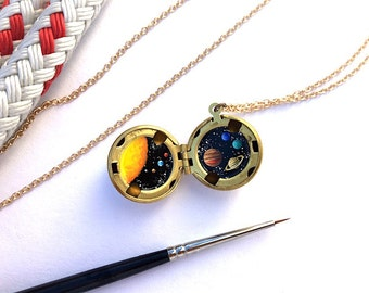 Solar System Jewelry, Oil Enamel Painted Locket Miniature, One of a Kind Tiny Art