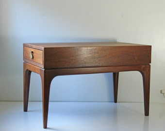 Mid century modern walnut side end table coffee table with side drawer and brass hardware