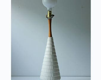 Modern white ceramic conical table lamp