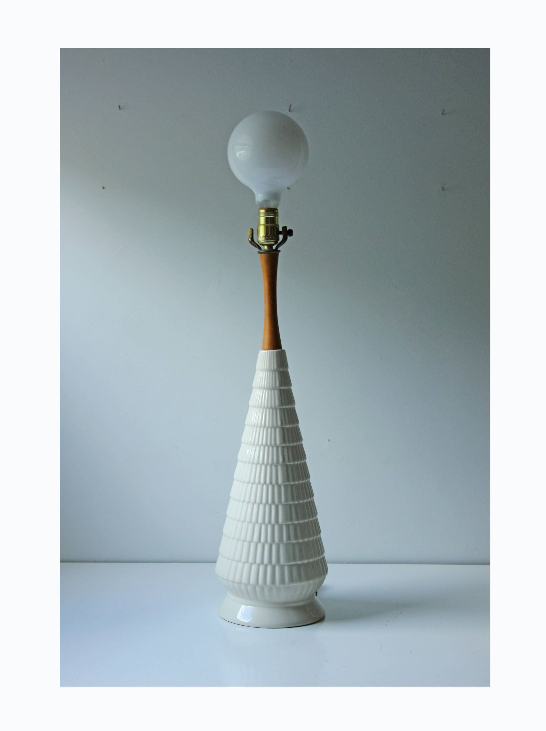 modern white ceramic conical table lamp. Black Bedroom Furniture Sets. Home Design Ideas