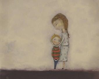 """Mother and son wall art little boy's room art decor mom and little boy blonde hair boy room wall art """"My Boy"""""""