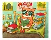 Owl Reading Books Print - Owl Print Nursery Art Owl Art Gift for book lover Owl Illustration Gender Neutral Woodland Animal kid wall art