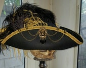 Black and gold Pirate~Steampunk~Renaissance  tricorn