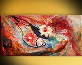 """The Lotuses: 61"""" Huge abstract canvas vivid original painting Splash Of Life series. White rose red blue color thick paint XXL wall hangings"""