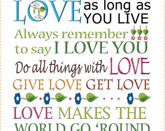 """AP6.35 - LOVE words to remember - 6"""" Fabric Art Panel"""