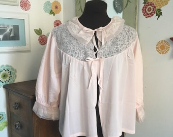 Vintage Bed Jacket, Pink Lace Ruffle Collar Lingerie Robe