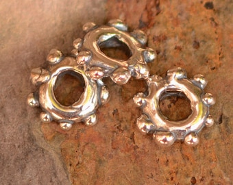 Two Artisan Dotted Daisy Beads in Sterling Silver, AD-549, 3mm Hole