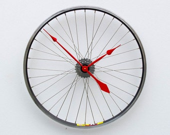 Bike Wheel Clock, Bicycle Wall Clock, Large Wall Clock, Cyclist Gift, Unique Wedding Gift, Steampunk Decor, Modern Wall Clock, recycled gift
