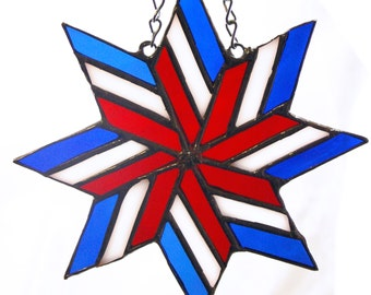 Stained Glass Red, White and Blue Texas Rangers Star Suncatcher