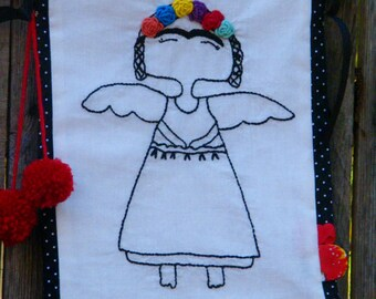 Patchwork Embroidery  Redwork Frida Khalo  Embroidery  Banner Flag Decor