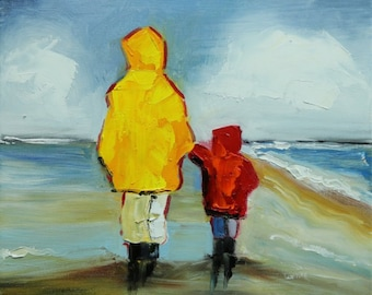 Beach painting 173 12x12 inch portrait original oil painting by Roz