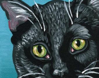 ACEO ATC Black Tuxedo Cat Pet  Original Minature Painting  Art-Carla Smale