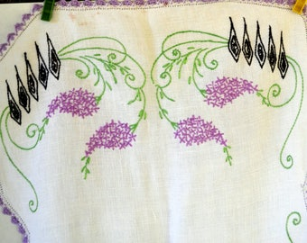 Vintage Hand Embroidered Table Runner White with Purple Flowers Purple Lace Border Vintage Linens