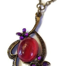 Vintage 1950s Japanese cabochon pendant necklace