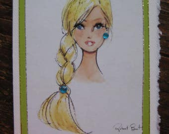 "Vintage Barbie note card ""Braided Barbie"""