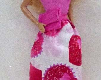 "11.5"" fashion doll Handmade dress with bright pink Pleather purse by Grizzly Creek"