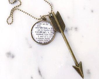 Wanderlust Vintage Dictionary Necklace with Arrow Charm - Travel - Adventure- World Travel - Follow Your Arrow