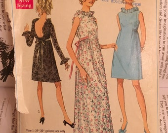Simplicity 7949 Vintage CUT & Complete - year 1968 Misses' Evening Dress in 2 Lengths Size 12 Bust 34 - U Shaped Back - Round Neckline