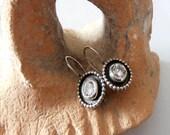 white spinel earrings, white spinel Stone, Round Silver Earrings, Ethnic earrings, Israeli Jewelry, Silver Earrings