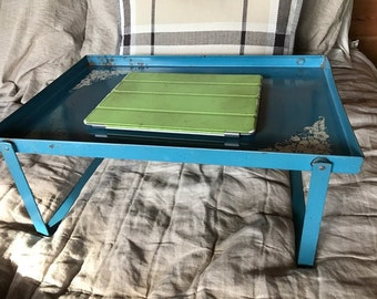 vintage blue  bed tray use your pad in bed breakfast in bed folds for easy storage