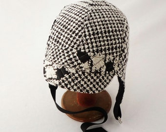 Aviator Hat in Black and White Houndstooth, Sequined, Quilted Wool - Womens Hat, Winter Hat, Warm Hat, Gift for Her, Righteous, Sparkle Glam