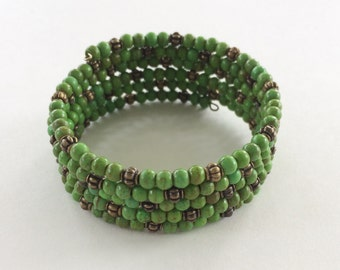 Green Turquoise Magnesite bracelet memory wire - bronze accent beads